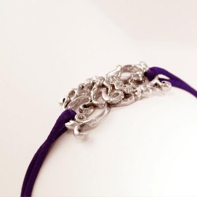 """Bracelet""""BARROCO"""" en argent rhodié d'Ohdislemoi-joaillerie-argent et son cordon réglable"""