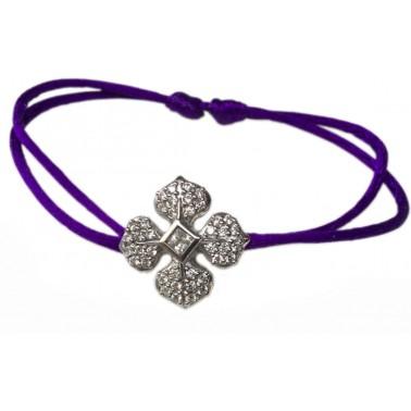 Bracelet cordon violine Marie Louise en argent et zircons blancs Ohdislemoi-Joaillerie argent