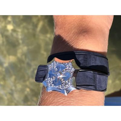 Bracelet Louise cuir crocodile bleuté et argent ohdislemoi-joaillerie-paris
