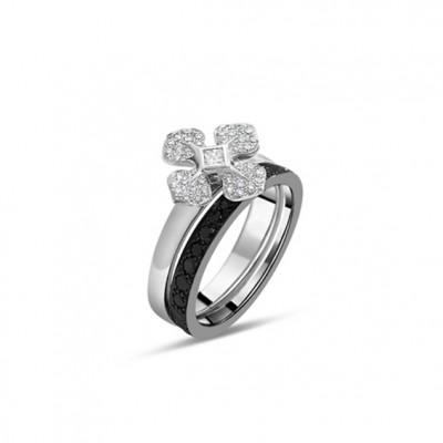 """BAGUE """"MelleLISA"""" orblanc et alliance design diamants noirs"""