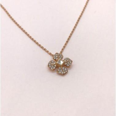 Pendentif Melle Lisa Chaîne or rose avec son pendentif or et diamants-Ohdislemoi-Joaillerie