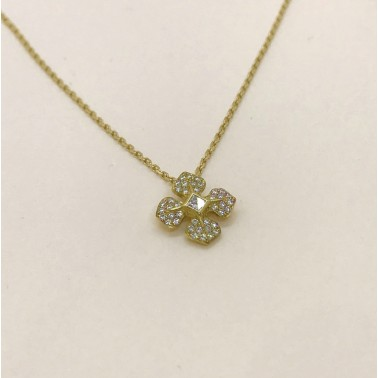 Collier avec sa chaîne en or et son pendentif serti de diamants-Ohdislemoi