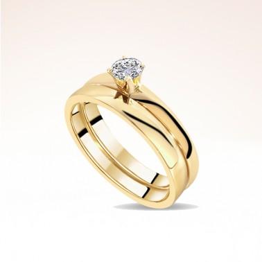 Bague de fiançailles et alliance or jaune paris