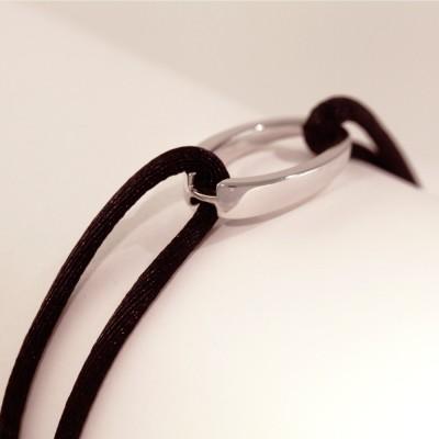 """Bracelet design""""OH"""", en argent 925, Ohdislemoi-Paris, cordon noir"""