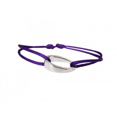 """Bracelet design""""OH"""", en argent 925, Ohdislemoi-Paris cordon violine"""