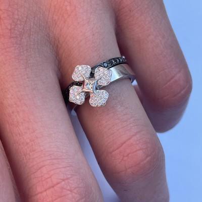 """BAGUE """"MelleLISA"""" or blanc-diamants blancs et alliance design diamants noirs"""