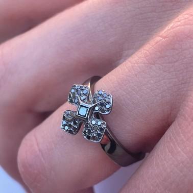 """Bague """"MelleLISA"""" or """"noir"""" et diamants noirs d'Ohdislemoi Joaillerie, fait main à Paris"""
