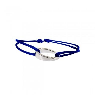 """Bracelet design""""OH"""", en argent 925, Ohdislemoi-Paris cordon bleu azur"""
