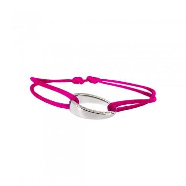 "Bracelet design""OH"", en argent 925, Ohdislemoi-Paris cordon rose fushia"