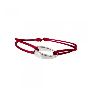 """Bracelet design""""OH"""", en argent 925, Ohdislemoi-Paris cordon rouge"""