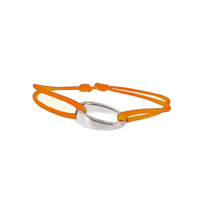 "Bracelet design""OH"", en argent 925, Ohdislemoi-Paris cordon orange"