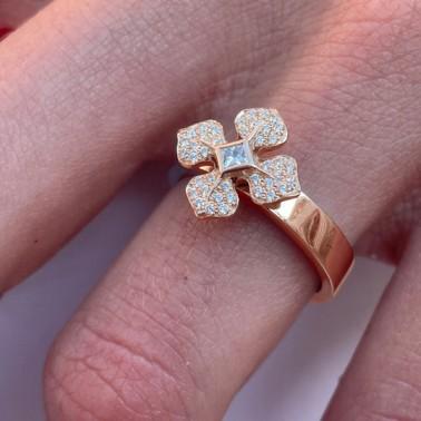 Bague fleur en or rose et diamants Melle LISA - Ohdislemoi-joaillerie-Paris, fait main à Paris