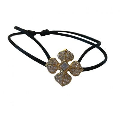Bracelet cordon Marie Louise en argent doré or jaune et zircons blancs Ohdislemoi-Joaillerie argent