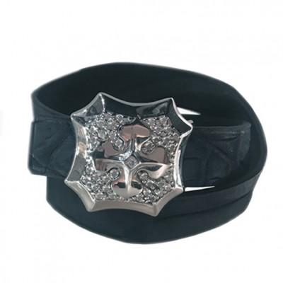Bracelet Louis cuir crocodile et argent ohdislemoi-joaillerie-paris